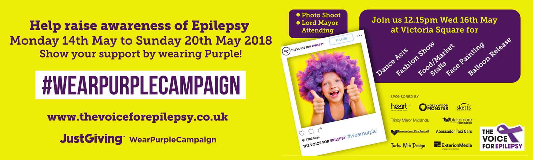 wear purple campaign epilepsy banner