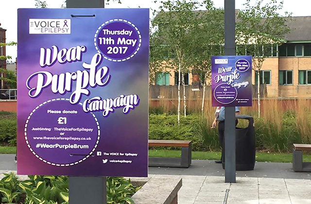 Outdoor posters for The Voice For Epilepsy association. Support epilepsy awareness.