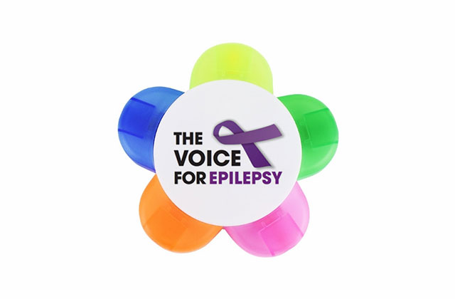 Highlighter pens displaying The Voice For Epilepsy logo