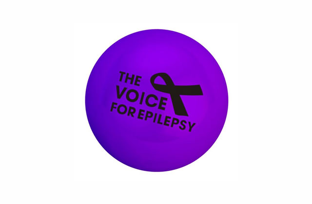 A stressball displaying The Voice For Epilepsy logo