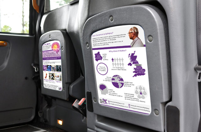 The Voice For Epilepsy charity advertising in taxis