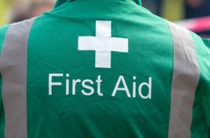 First Aid for focal epilepsy. Image of a First Aid responder.